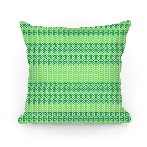 Faux Knitted Sweater Green Pattern Pillow