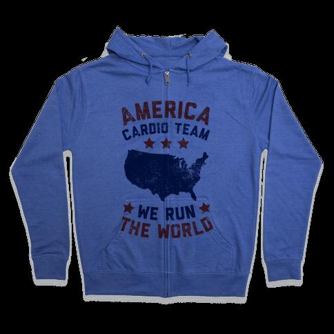 America Cardio Team (We Run The World) Zip Hoodie
