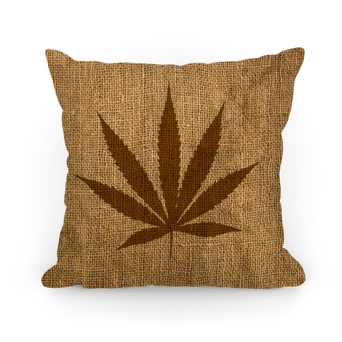 Faux Burlap Weed Pillow Pillow