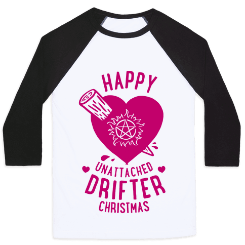 Happy Unattached Drifter Christmas Baseball Tee