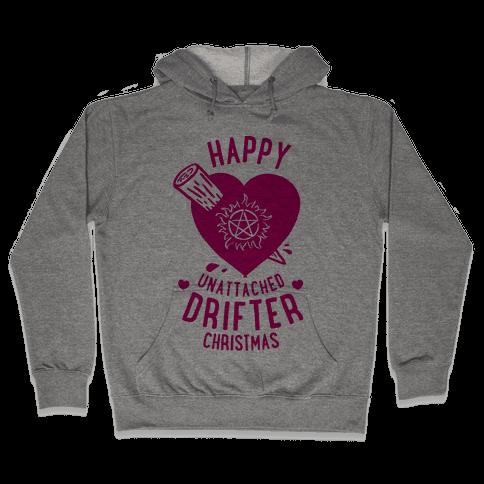 Happy Unattached Drifter Christmas Hooded Sweatshirt