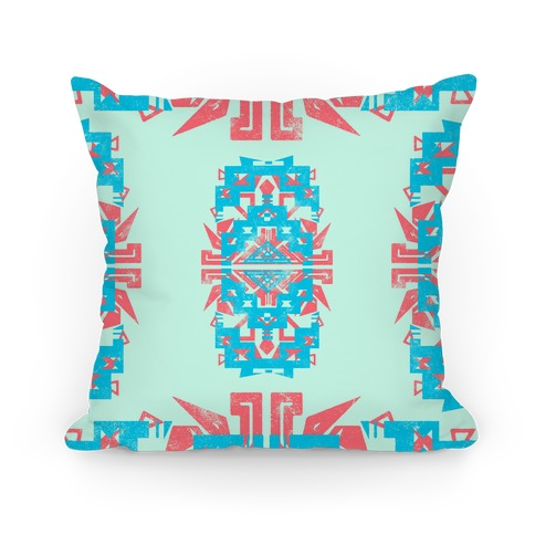Teal and Red Aztec Pattern Pillow