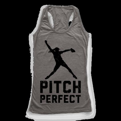 Softball Pitch Perfect (Baseball Tee) Racerback Tank Top