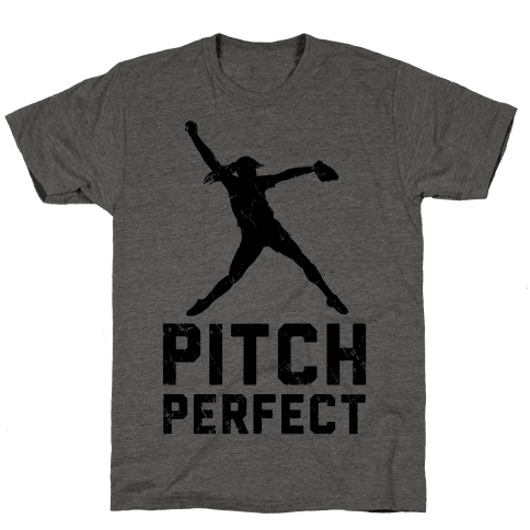 Softball Pitch Perfect (Baseball Tee) Mens T-Shirt