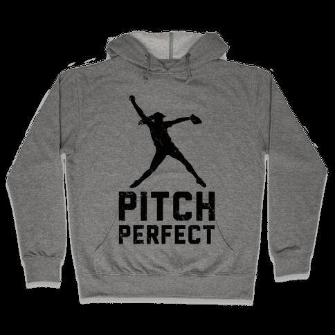 Softball Pitch Perfect (Baseball Tee) Hooded Sweatshirt