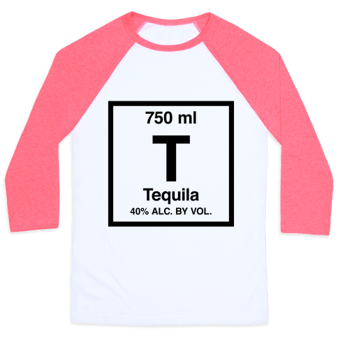 Tequila Element (Periodic Alcohol) Baseball Tee