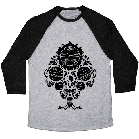 Victorian Planet Pattern Baseball Tee