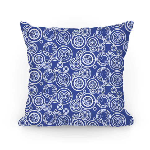 TARDIS Blue Gallifreyan Writing Pattern Pillow