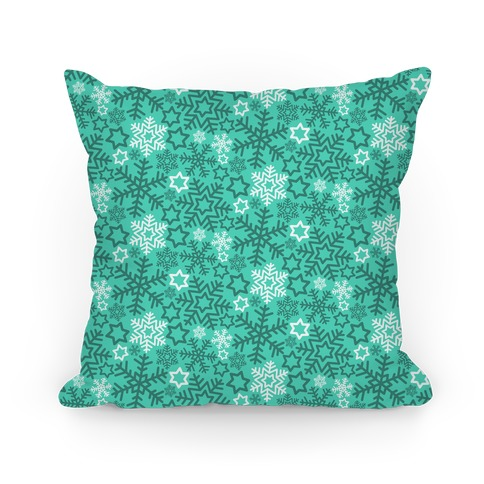 Winter Snowflakes Green and White Pattern Pillow