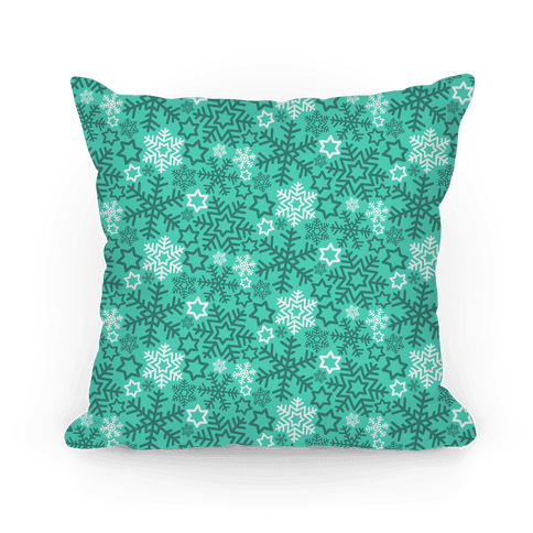 Winter Snowflakes Green and White Pattern
