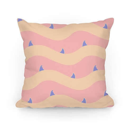 Pastel Shark Fins Waves Pattern Pillow
