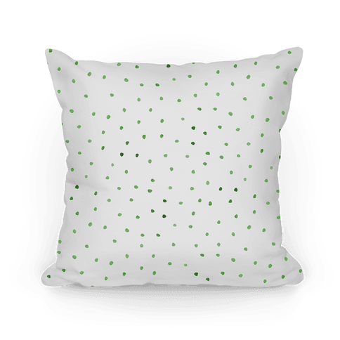 Green Watercolor Polka Dots Pillow