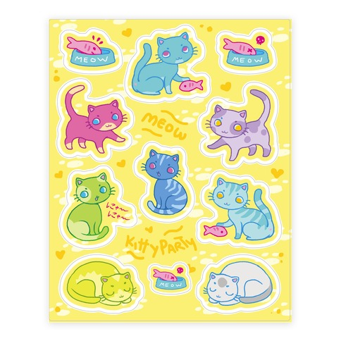 Cute Colorful Cat Sticker and Decal Sheet