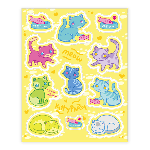 Cute Colorful Cat  Sticker/Decal Sheet