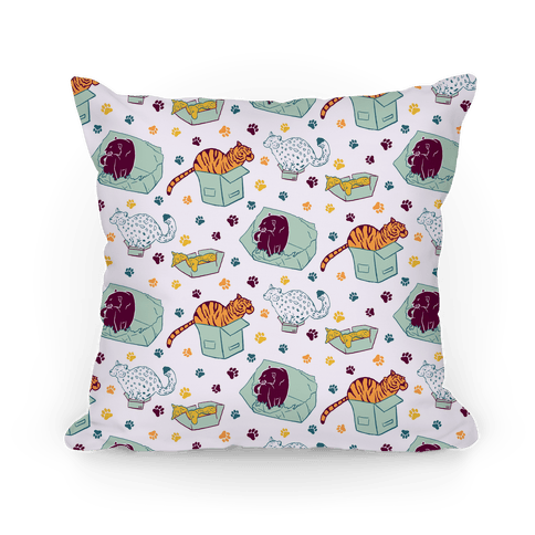 Wild Cats in Boxes and Paw Print Pattern Pillow