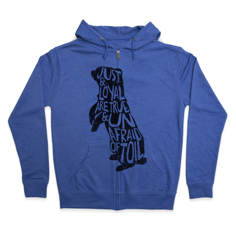 Just & Loyal Are True & Unafraid Of Toil (Hufflepuff) Zip Hoodie