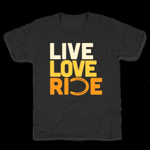 Live Love Ride (Horseshoe) Kids T-Shirt
