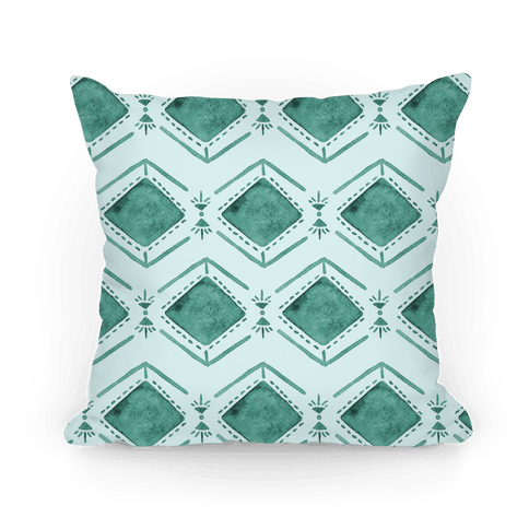 Turquoise Watercolor Tribal Pattern Pillow