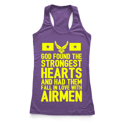 God Found The Strongest Hearts (Air Force) Racerback Tank Top