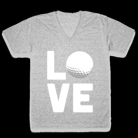 Love Golf (White Ink) V-Neck Tee Shirt