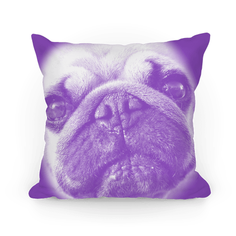 Purple Pug Face Pillow