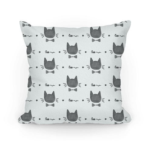 Black and White Watercolor Cat Bow Tie Pattern Pillow