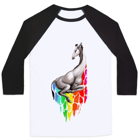 Rainbow Splatter Giraffee Baseball Tee