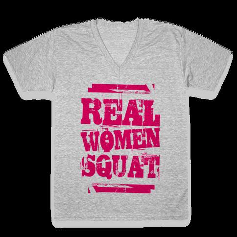 Real Women Squat V-Neck Tee Shirt