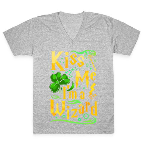 Kiss Me! I'm a Wizard! V-Neck Tee Shirt
