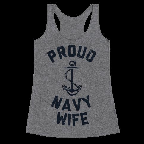 Proud Navy Wife Racerback Tank Top