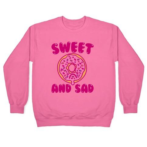 Sweet And Sad Donut Parody White Print Pullover