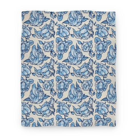 Floral Penis Pattern Blue Blanket