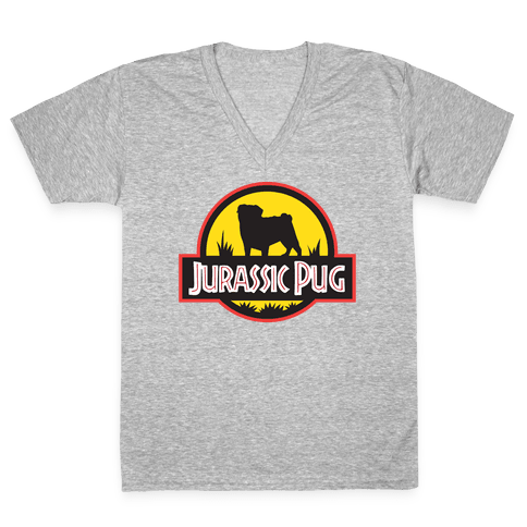Jurassic Pug V-Neck Tee Shirt