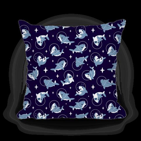 Space Shark Pattern Pillow