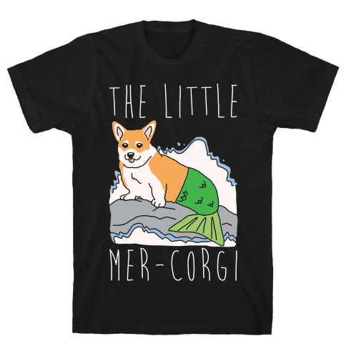 The Little Mer-Corgi Parody White Print Mens T-Shirt