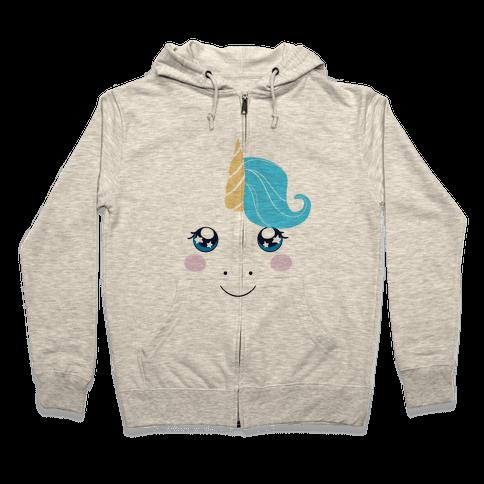 Unicorn Face Zip Hoodie