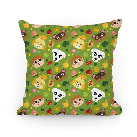 Animal Crossing Pattern Pillow
