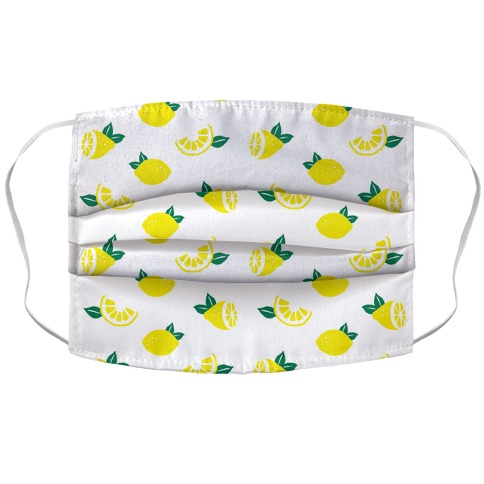Dainty Lemons Pattern White Accordion Face Mask