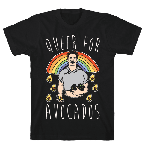 Queer For Avocados White Print Parody Mens T-Shirt