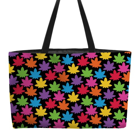 Rainbow Pot Leaf Pattern Weekender Tote