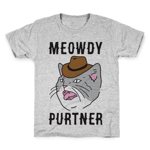 Meowdy Purtner Cowboy Cat Kids T-Shirt
