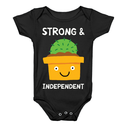 Strong And Independent Cactus Baby Onesy