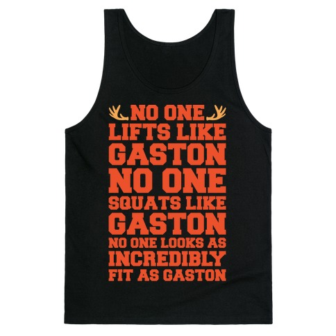 No One Lifts Like Gaston Parody White Print Tank Top