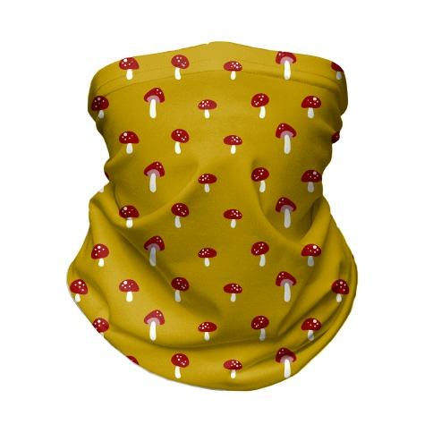 Dainty Mushroom Pattern Yellow Neck Gaiter