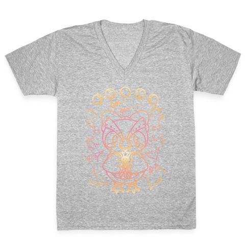 Celestial Astrology Owl V-Neck Tee Shirt