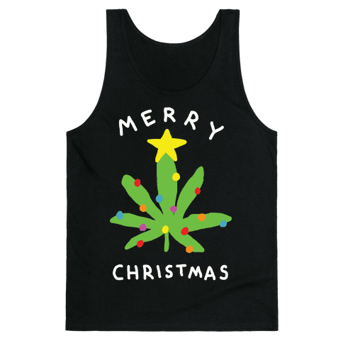 Merry Christmas Pot Leaf Tank Top