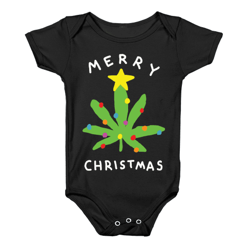 Merry Christmas Pot Leaf Baby Onesy