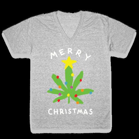 Merry Christmas Pot Leaf V-Neck Tee Shirt