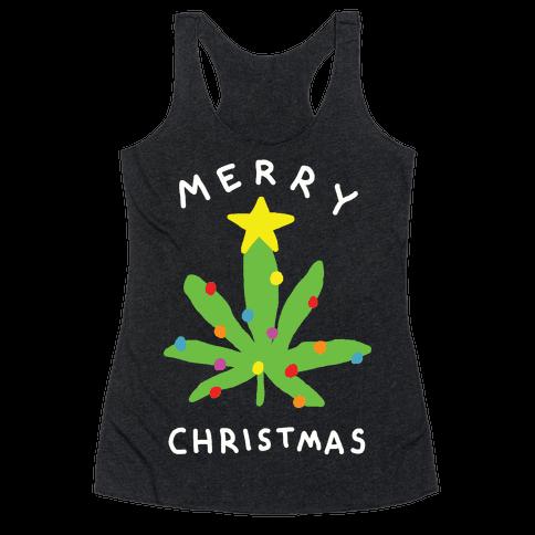 Merry Christmas Pot Leaf Racerback Tank Top