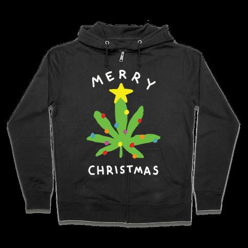 Merry Christmas Pot Leaf Zip Hoodie